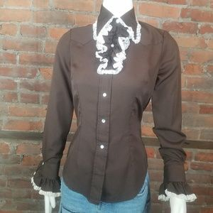 Vintage  Women's Western Shirt Brown w/White Lace